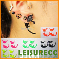 Gift african black leopard - Hot Stud Earrings Long Tail Leopard Cat Fluorescence Alloy Acrylic Womens Ear Cuff ZB0041