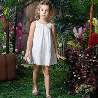 bohemian clothes - Bohemian Style Kids Summer Solid Cotton Sleeveless Dress Childrens Clothing Girls Beaded Embroidered A line Sundress