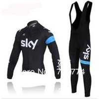 Wholesale 2014 sky men winter autumn thermal cycling Jersey sets with long sleeve bike top bib pants in cycling clothing bicycle wear