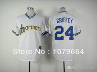 Wholesale 2015 New Seattle Mariners Ken Griffey White Throwback Retro MLB Jersey Baseball Jerseys Authentic On Field Sportswear