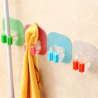 Wholesale Plastic Wall Colorful Hanger Hook Organizer Storage Rack Crystal Mounted Mop Broom Holders Home Kitchen Decor New