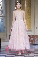 ankle bones picture - Gorgeous Pink Prom Dresses Illusion Lace Formal Evening Gowns Georges Hobeika A Line Jewel Crystal Rhinestones Ankle Length Custom Made