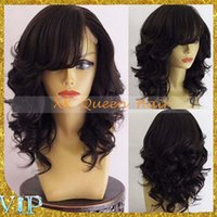 ace hair - Stock Loose Wave ace Front Human Hair Wigs With Bangs Short Wavy Virgin Peruvian Hair Side Part Full Lace Wig