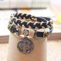 tungsten bracelet - Vintage leather strap belt charm knit bracelet religion diy alloy bead gothic cross crucifix archaize punk multilayer handcraft jewelry