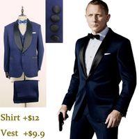 wedding suits for men - Dark Blue Tuxedo James Bond Cheap In Stock Wedding Suits for men Formal Suit Groom Tuxedos Tailcoat Jacket Pants Tie Real Picture