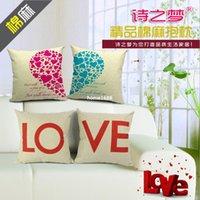 love chair - 2pcs set LOVE HEART Lovers Square cm jacquard Linen Sofa Chair Seat Bed Pillow Case Cushion DIY Home Decor Hotel Decorative