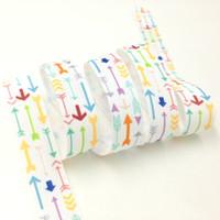 Wholesale Arrow Print Fold Over Elastic quot Arrow Print FOE Elastic Ribbon for DIY Headwear Hair Accessories yards