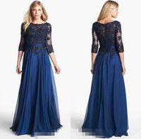 Wholesale BM Elegant A Line Mother of the Bride Dresses Scoop Neckline Bodice Pleated A line Chiffon Appliques Lace Long Sleeve Evening Dress