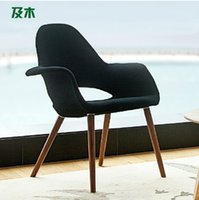 Wholesale Modern simple fashion Furniture Nordic design woollen cloth solid wood leisure chair study room chair