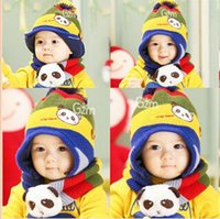 Wholesale 30set LJJC2283 High Quality New Baby Hat Scarf Winter Wram Children Baby Kids Panda Hat Beanie Cap Scarf One Set Cute Scarf Knit Caps