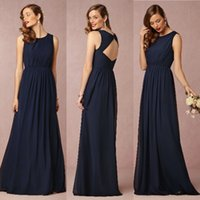 Cheap Navy Blue Chiffon Bridesmaid Dress Long Floor Length Sleeveless Brides Made Dresses