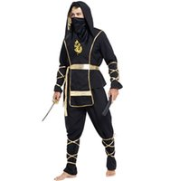 Wholesale Men Japanese ninja costumes adult halloween cosplay ninja costumes party cosplay including top pant belt tire bandage masks