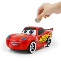 Wholesale Electric Red Car Piggy Bank Saving Money Box Pot Xmas Gift Music Light Wink eye Light speed Coin