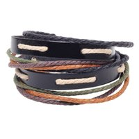 Cheap double layer Vintage leather strap belt charm knit bracelet diy alloy bead archaize punk multilayer handcraft jewelry