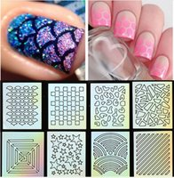 nail art - 9 Tips Sheet Nail Vinyls Print Nail Art Stencil Sticker Holo Nail Art Stickers Nail Laser Vinyls Nail Tools NF201 NF208