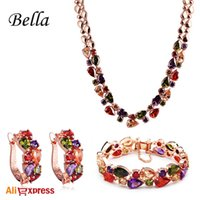 bella jewelry set - BELLA Luxry K Rose Gold Plated Semi Precious Bridal Jewelry Sets With CZ Diamond Wedding Jewelry Set For Bride