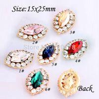 Cheap 100PCS lots Mixed 15x25mm rhinestone button flatback embellishment for hair bow center RMX67
