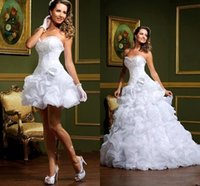 Reference Images sexy mini wedding dress - 2015 New Short A Line Wedding Dresses with Detachable Skirt Summer Beach White Pleats Crystal Ruffles Formal Bridal Ball Gowns LT89