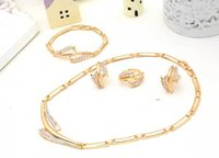 Cheap 2016 new bride suits a family of four European and American pop hollow diamond necklace gold-plated