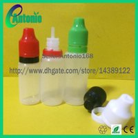 Cheap 1000pcs LEDPE plastic dropper bottles with childproof dropper&tamper evident dropper cap e liquid e juice cigarette oil lequid triangle sign