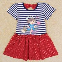 Wholesale Dora Cartoon Dress Short Sleeve Stripe Wave Point Baby Clothing Cotton White Kids Clothes H5053