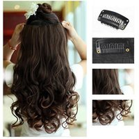 Wholesale 1pc Women curly Wavy Long Hair extentions clips in on synthetic hair colors for Human