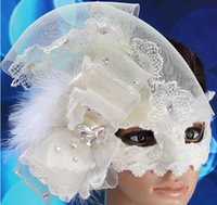 Wholesale Women Half Face Lace Tulle Masquerades Masks With Feather Rhinestone Costom Mask Role play Mask Ball Mask Halloween Party Mask