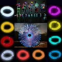 Wholesale LED Strips seven color M neon el wire light Flexible Neon Light Glow EL Wire Rope Car Party water resistant FG