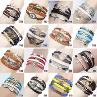 Wholesale NEW Jewelry fashion Leather Cute Infinity Charm Bracelet Silver Style pick