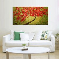 beautiful flower oil painting - Abstract Beautiful Red Flower Tree Knife Oil Painting On Canvas Flower Picture Abstrat Wall Art Home Decor Nice Gift