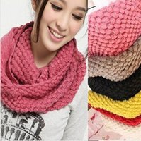 Wholesale Korean version of autumn winter knitting scarf for lady Lovely knitting wool collar warm Neck Circle Scarves pure color Scarf