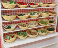 Wholesale Dollhouse Miniature Assorted Hand made Clay Vegetable and Bamboo Baskets Scale