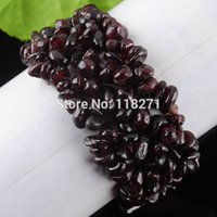 Precio de Chip stone bracelet-Envío al por mayor-libre salta granos granate piedra pulsera del estiramiento 7