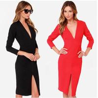 xxl clothes - 2015 Fall Long Sleeve Low Cut Women Sexy Dress Split C711 Night Club Party Dresses Plus Size Clothes S XXL