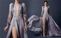 printed chiffon - Paolo Sebastian Prom Dresses Plunging Neck Long Sleeves Printed Chiffon Dresses Party Evening With Beaded Applique Split Side Party Dresses
