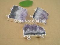 amethyst cluster geode - crystal luxury Crystal Shiny Amethyst Quartz Geode Druzy Gem stone Pendants Connectors Silver plated Amethyst Pendant Charms for jewel