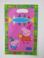 Cheap pink pig theme printing plastic hand length handle loot lolly bag,shopping gift bag,child party favor bag*30pcs