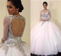 beach hollywood - Luxury New Beaded Crystal Hollywood Sheer Long Sleeves Wedding Dresses Court Train Backless Gown For Tonight Plus Size Brid