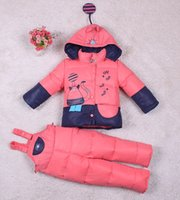 baby ski jackets - Winter Children s Clothing Set Baby Girl Ski Suit Baby Boy Down Coat Warm Snowsuits Jackets bib Pants set t