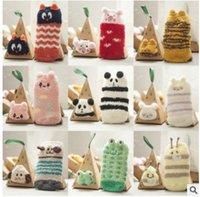 baby bear chickens - Cute Baby Sock Christmas Gift Chicken Bear Cute Xmas Tree Painting Sock Korean Winter Warm Stereo Cartoon Children Socks XW028