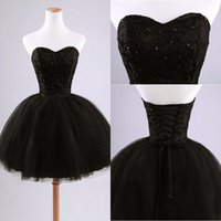 ball gown prom dresses - Black Puffy Real Image Short Cute Prom Dresses Sweetheart Neck Backless Applique Tulle Sleeveless Elegant Prom Dresses Gowns Party