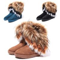 Wholesale Fashion winter warm high snow boots artificial fox rabbit fur leather tassel women s shoes size