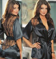 Wholesale Black Rose lace perspective sexy lingerie sleepwear nightgown bathrobe home