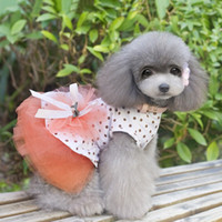 Wholesale Lovely Fluffy Dot Gauze Dog Dresses Princess Skirt For Pet Spring Summer Dog Clothes Blue Orange Dogs HX0018 salebags