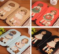 leather supplies wholesale - New Arrive Retro pencil cases office school supplies pen pink panda adventure time Simple Leather doll creative capacity