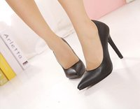 Cheap Size 35-40 11cm 2color High Heels Shoes 2014 Luxury Shoes Women Pumps High Heel Real Leather Shoes Black Sexy Spring Cheap