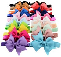 Cheap Baby Hair Bows 4 Inch Ribbon Bow Headbands for Girls Infant Elastic Hair Accessories Kids Hairband Fashion Princess Headdress 20 Colors