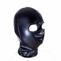 achat en gros de bondage hood-2016 Extractor De Aire Bathroom Fan Slave Capuche Fétiche Sexy Toys Open Eye Mask Head Bondage Noir Pu cuir Audlt Produits de sexe pour amateurs
