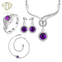 Wholesale Jewellery Design New Arrival Big Purple Crystal Sapphire Ruby Wedding Jewelry Set Silver Plated Jewelry Set for Women