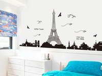 home decal stickers - New Art Decal Removable Paris Eiffel Tower Wall Sticker Mural stylish Home Decor